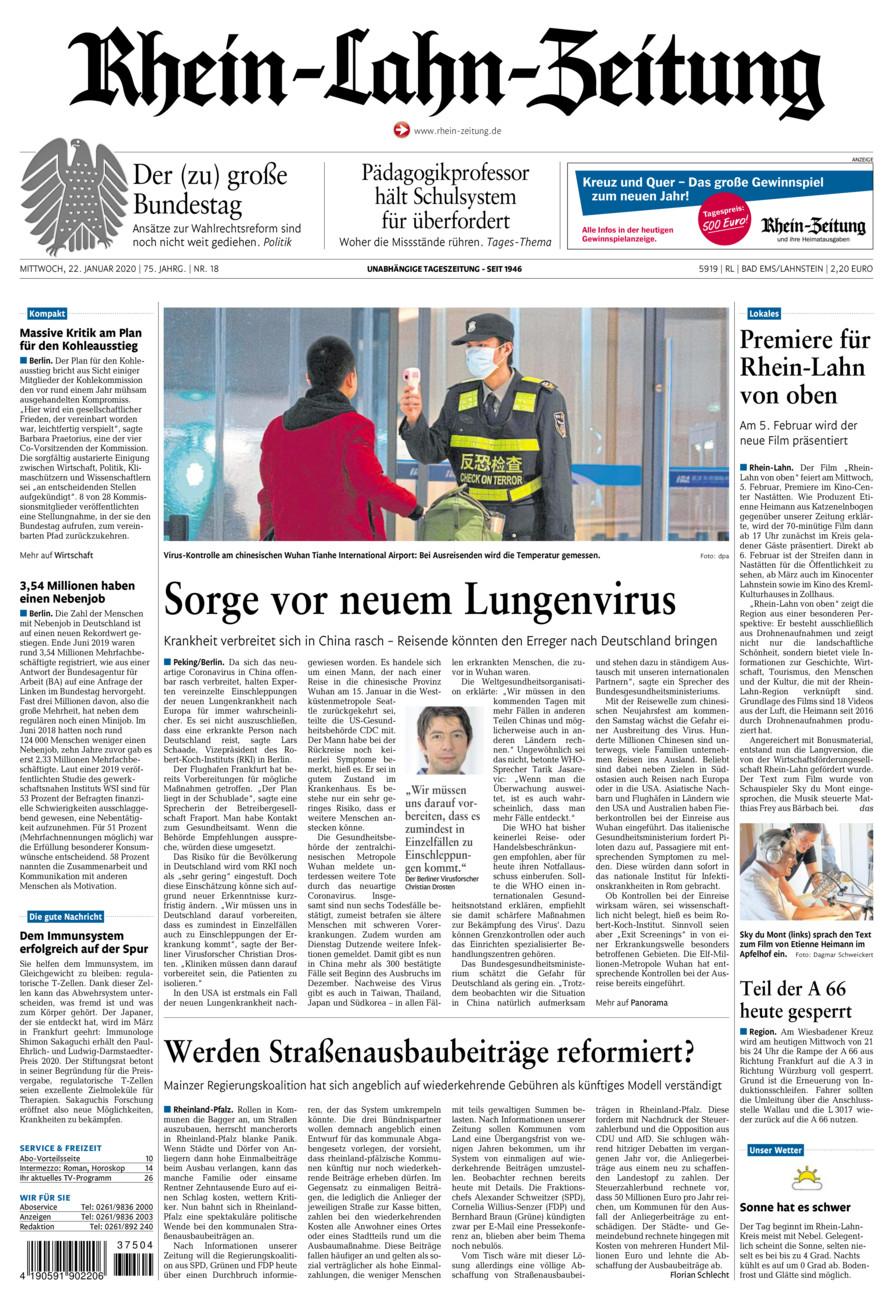 Rhein-Lahn-Zeitung Bad Ems vom Mittwoch, 22.01.2020