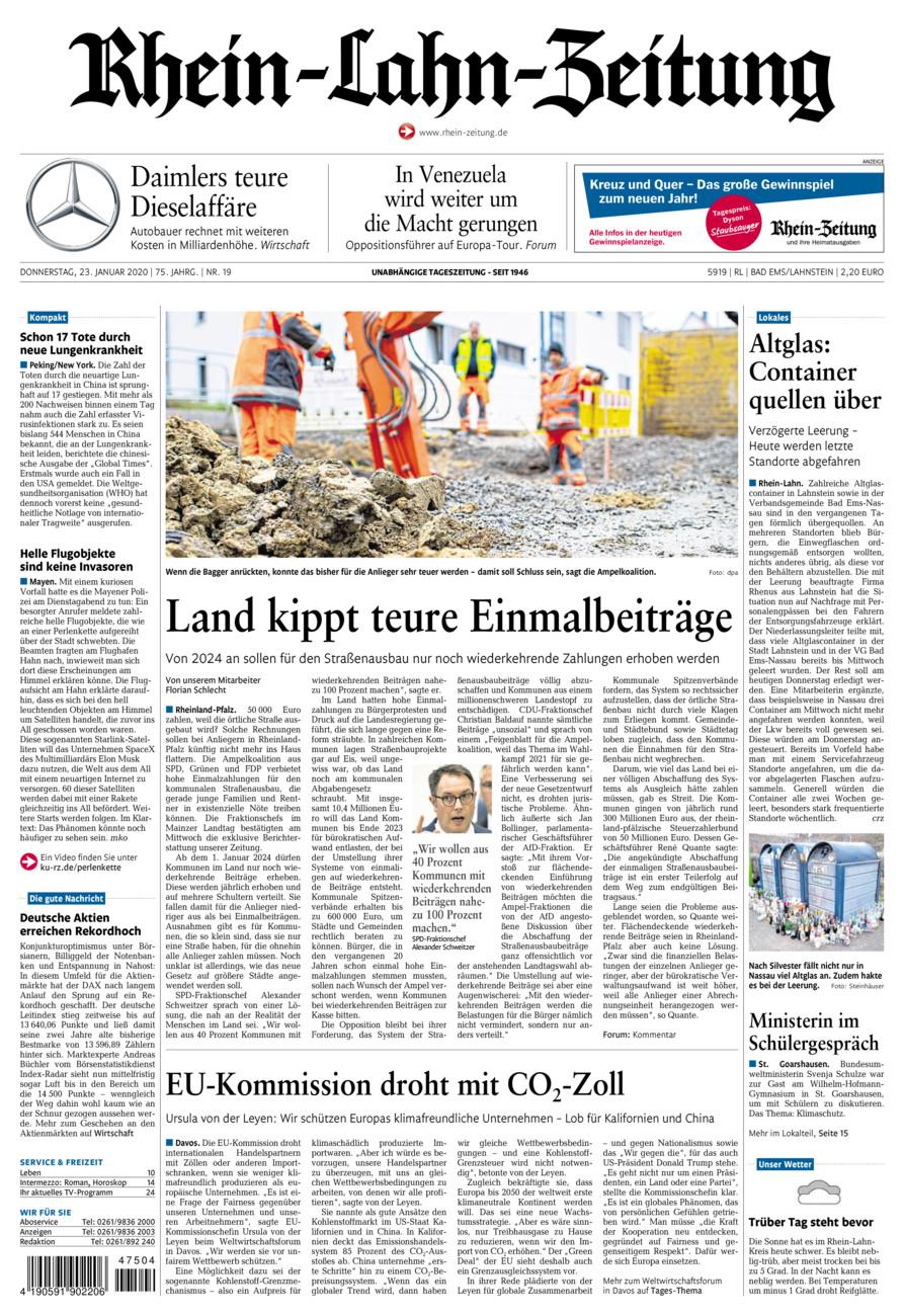 Rhein-Lahn-Zeitung Bad Ems vom Donnerstag, 23.01.2020
