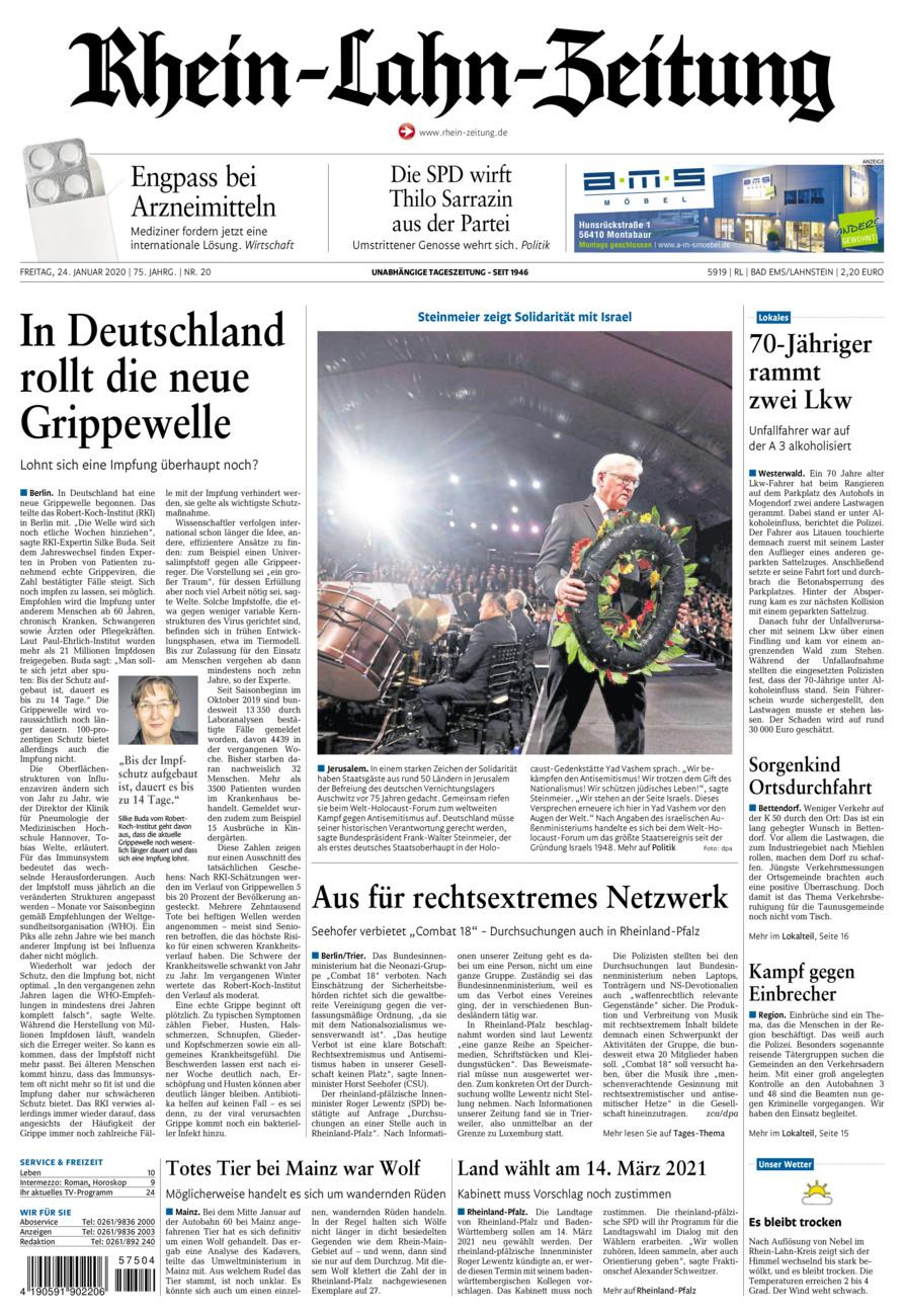 Rhein-Lahn-Zeitung Bad Ems vom Freitag, 24.01.2020