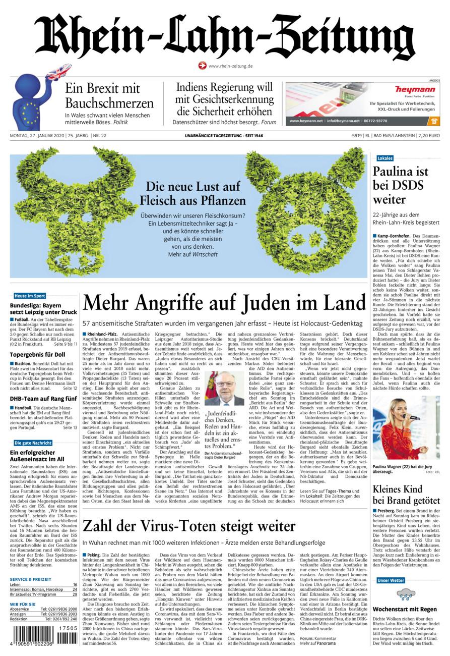 Rhein-Lahn-Zeitung Bad Ems vom Montag, 27.01.2020