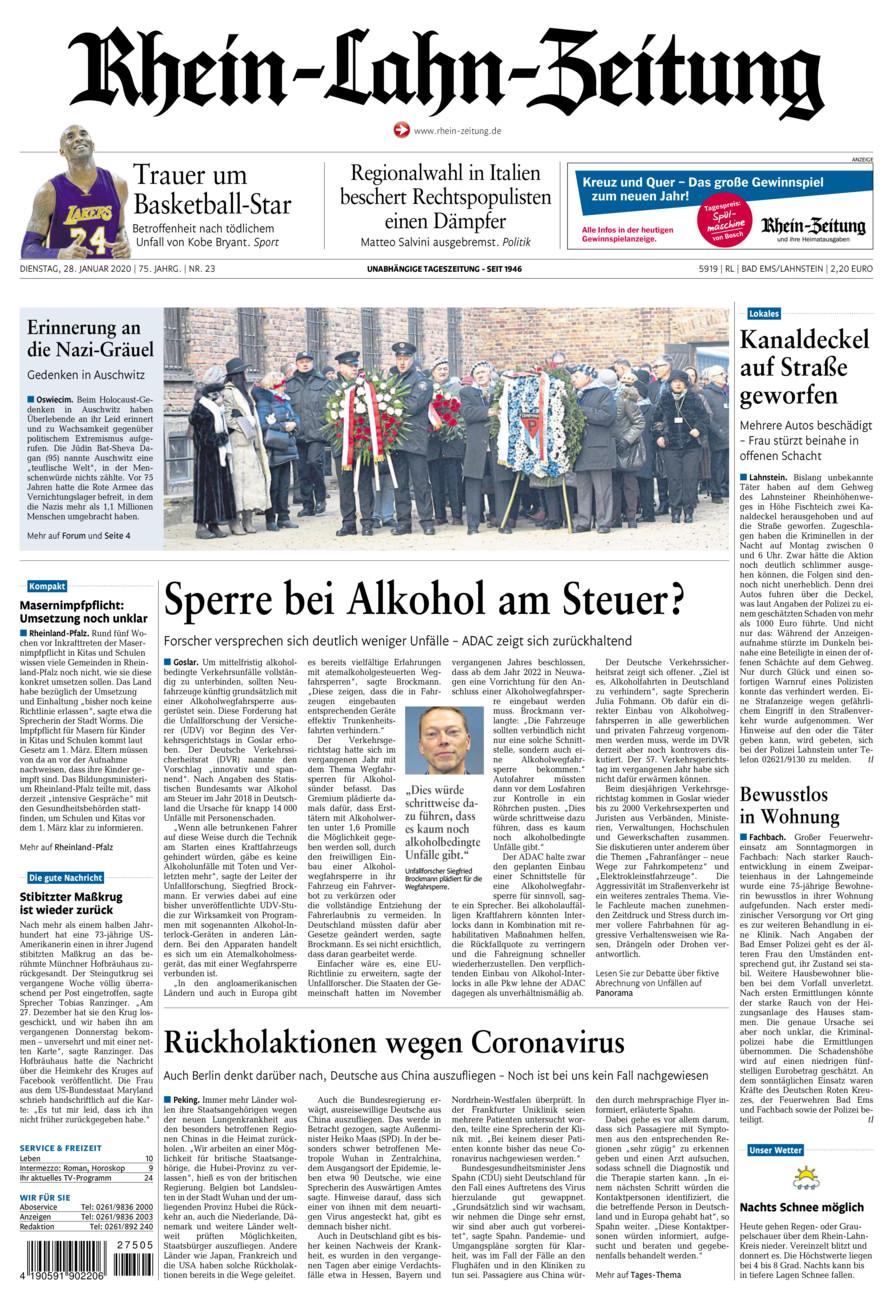 Rhein-Lahn-Zeitung Bad Ems vom Dienstag, 28.01.2020