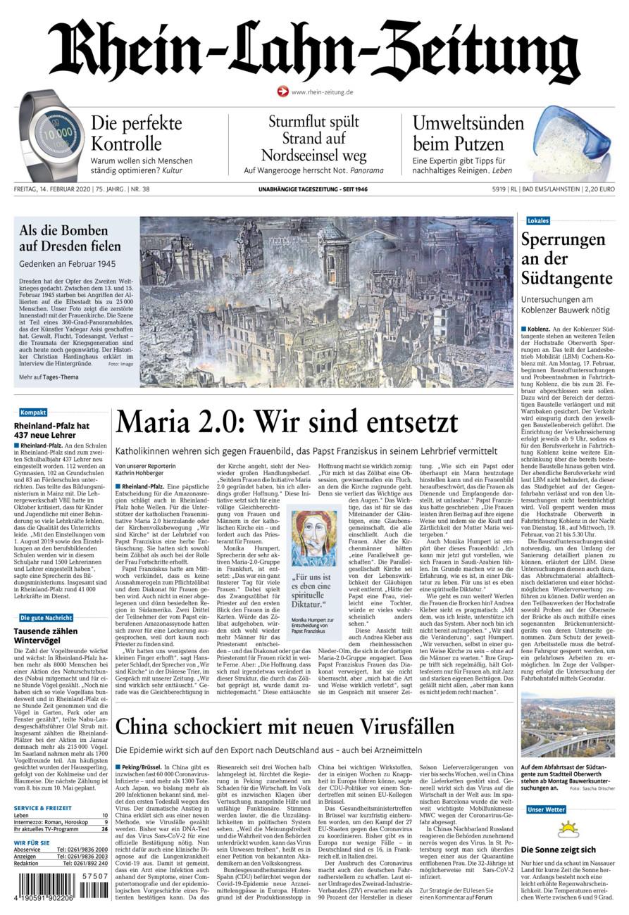 Rhein-Lahn-Zeitung Bad Ems vom Freitag, 14.02.2020