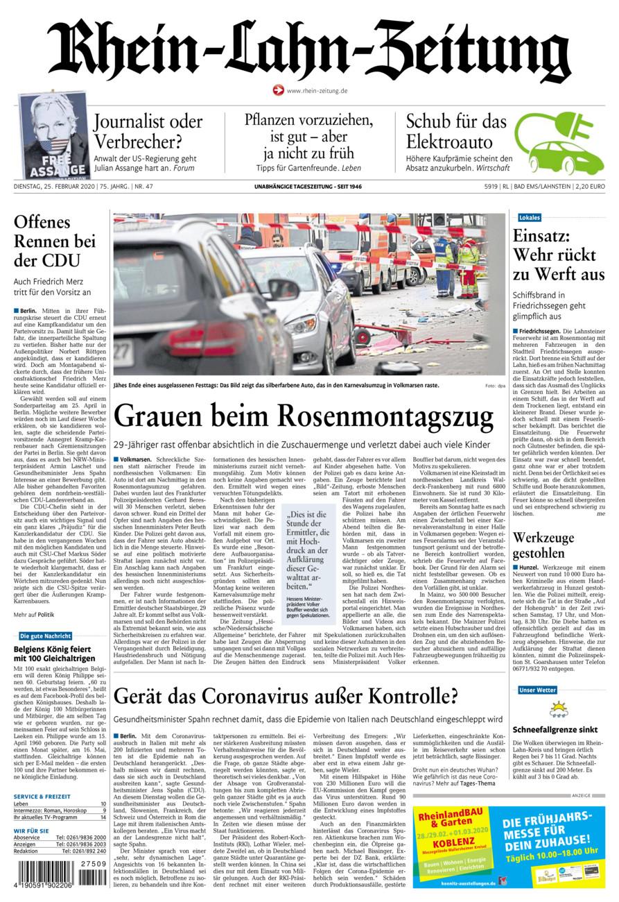 Rhein-Lahn-Zeitung Bad Ems vom Dienstag, 25.02.2020