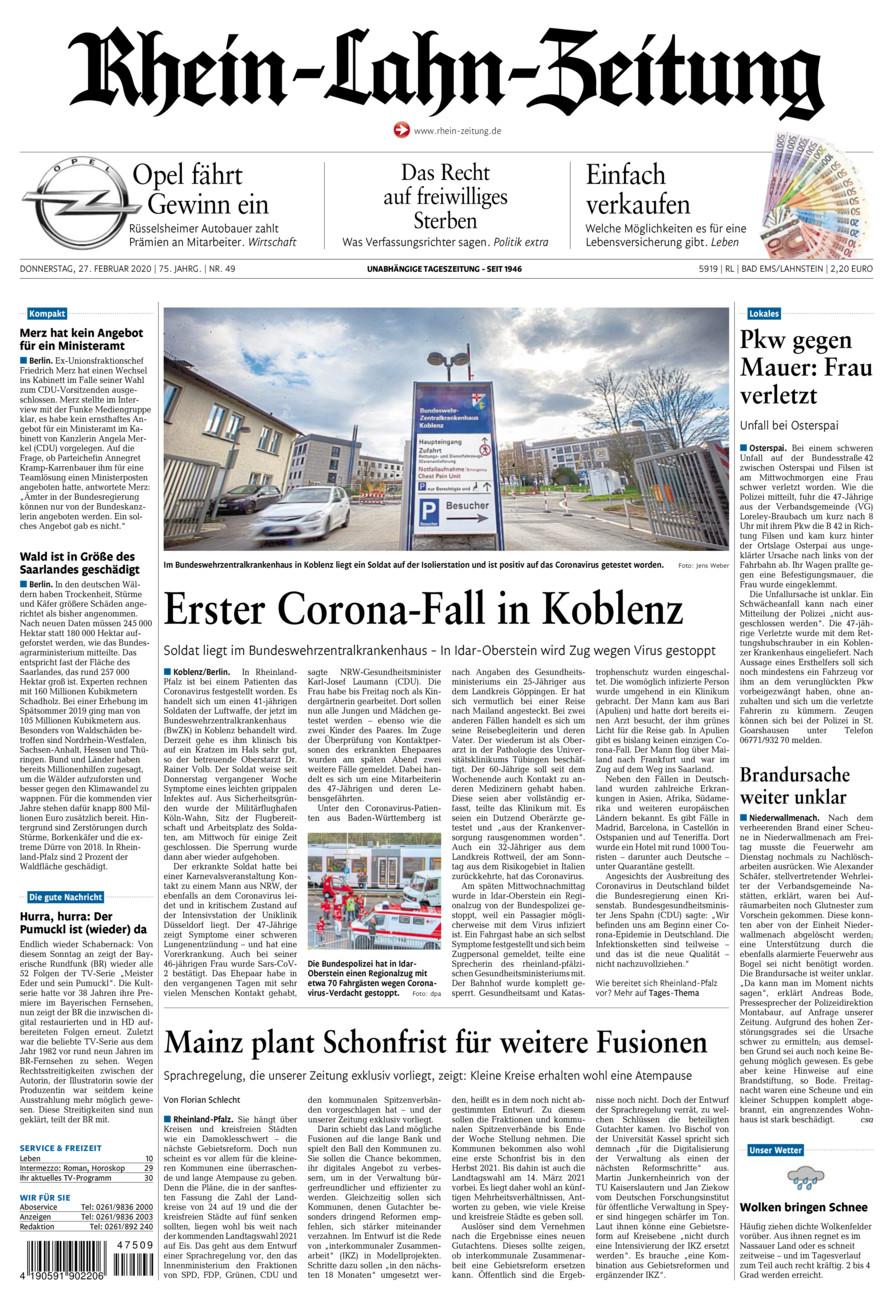 Rhein-Lahn-Zeitung Bad Ems vom Donnerstag, 27.02.2020