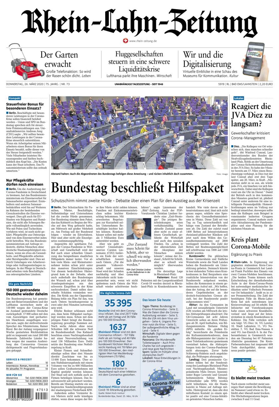 Rhein-Lahn-Zeitung Bad Ems vom Donnerstag, 26.03.2020
