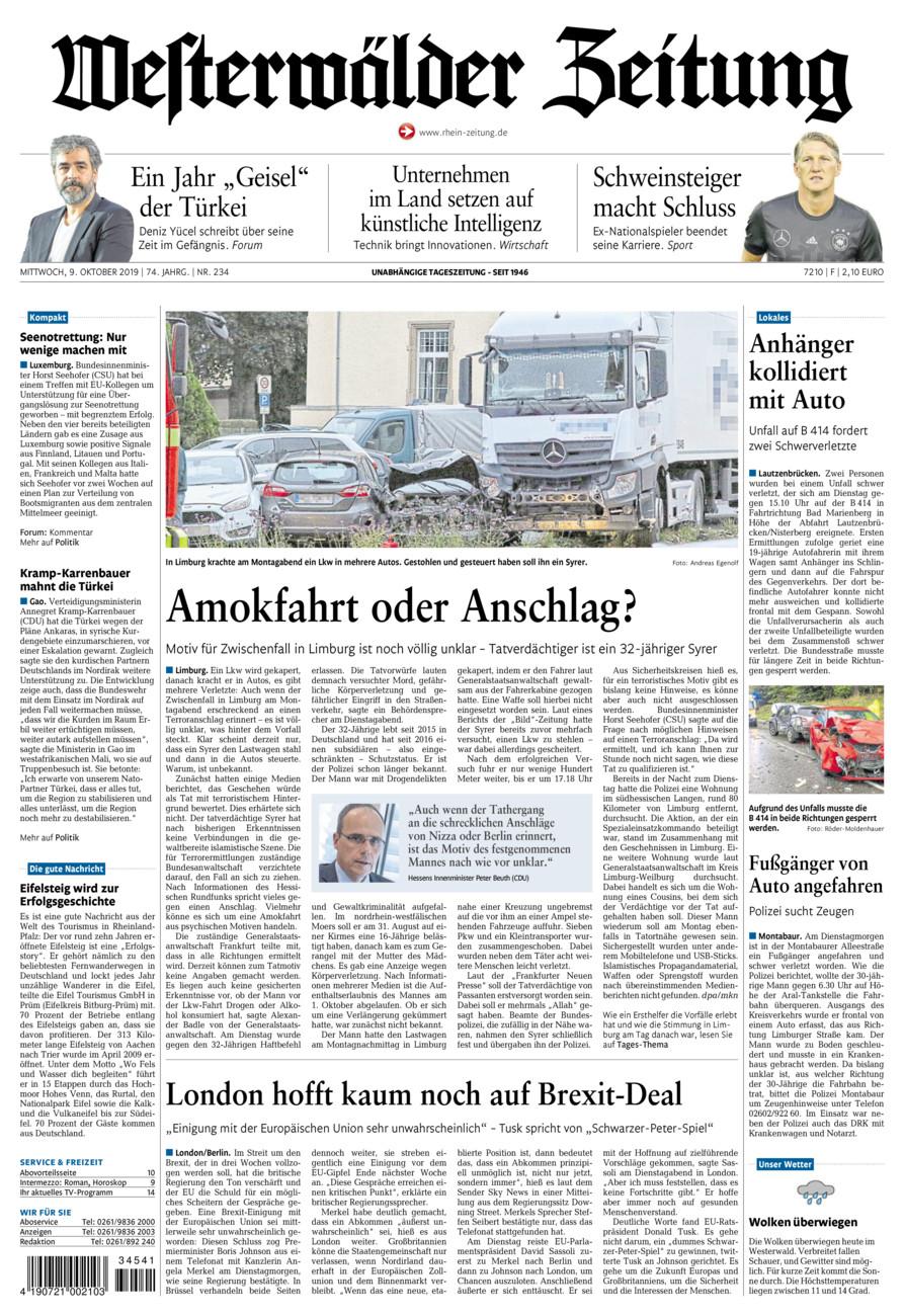 Westerwälder Zeitung vom Mittwoch, 09.10.2019