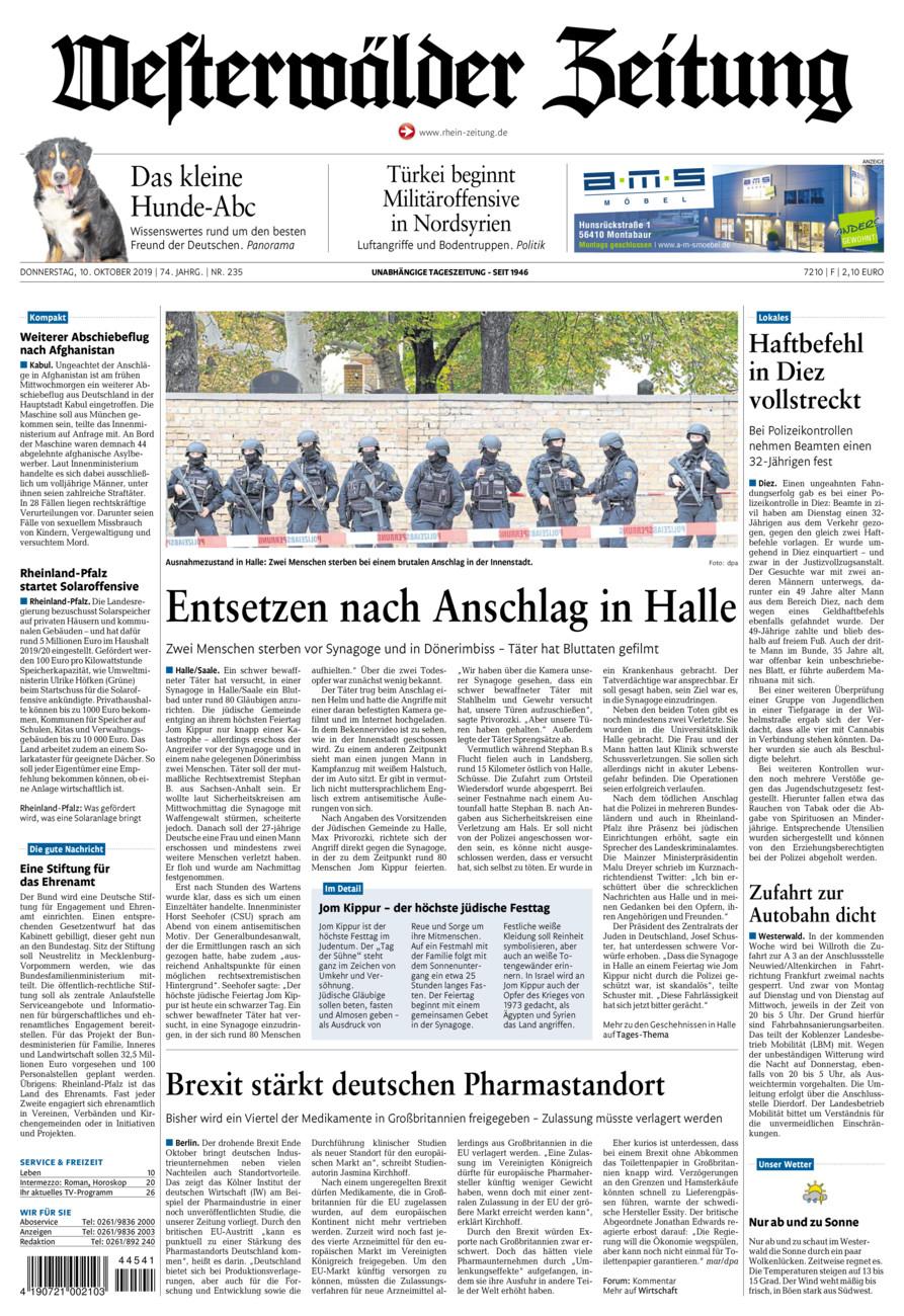 Westerwälder Zeitung vom Donnerstag, 10.10.2019