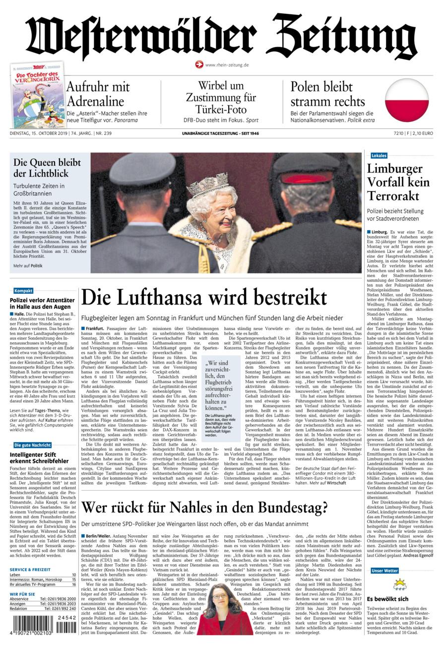 Westerwälder Zeitung vom Dienstag, 15.10.2019