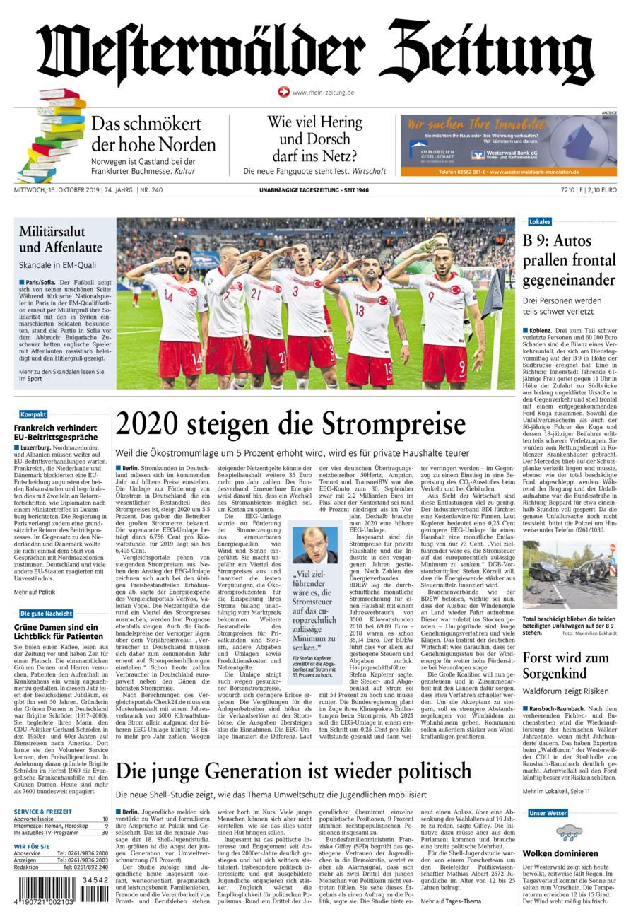 Westerwälder Zeitung vom Mittwoch, 16.10.2019