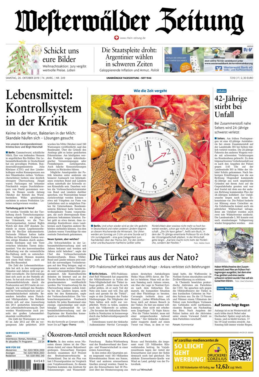 Westerwälder Zeitung vom Samstag, 26.10.2019