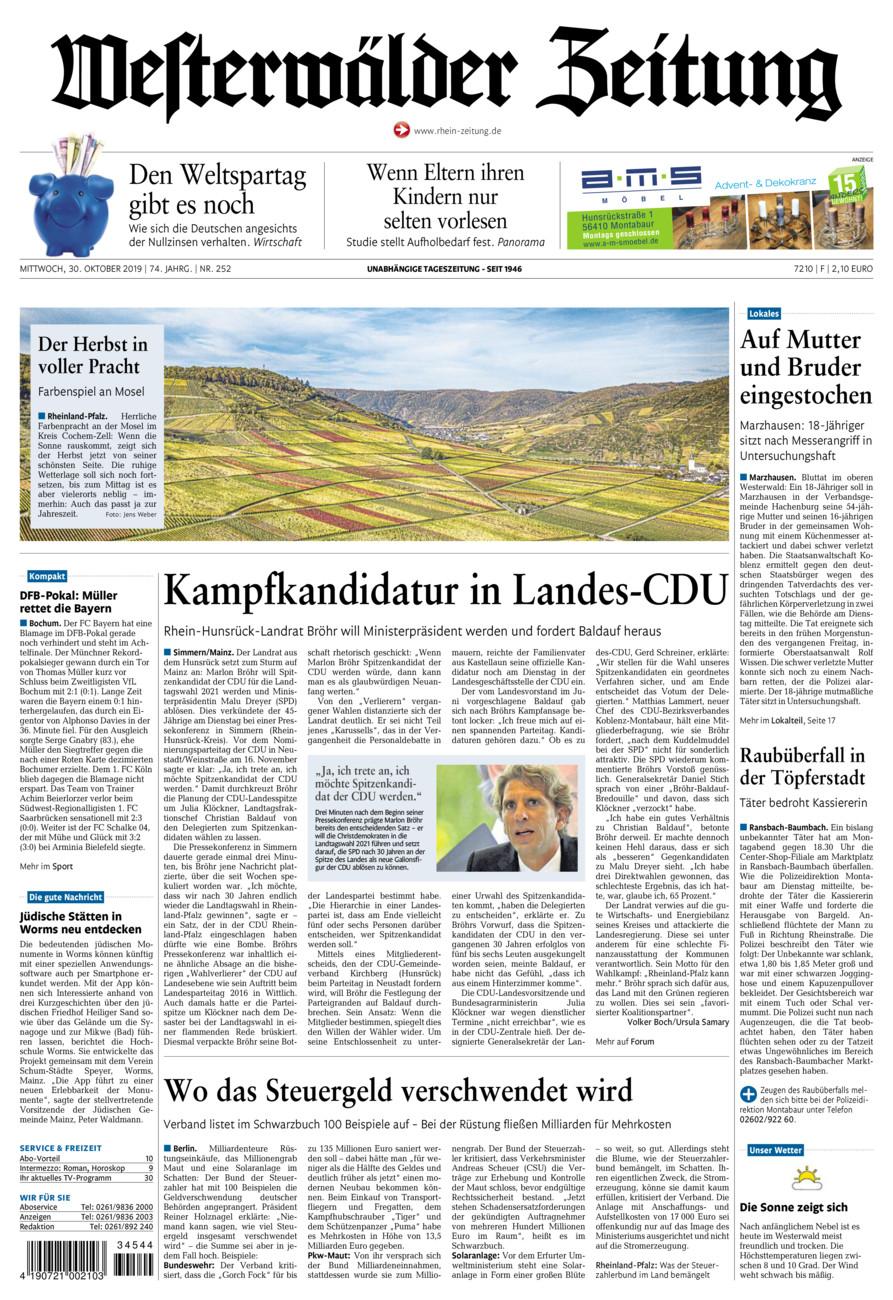 Westerwälder Zeitung vom Mittwoch, 30.10.2019