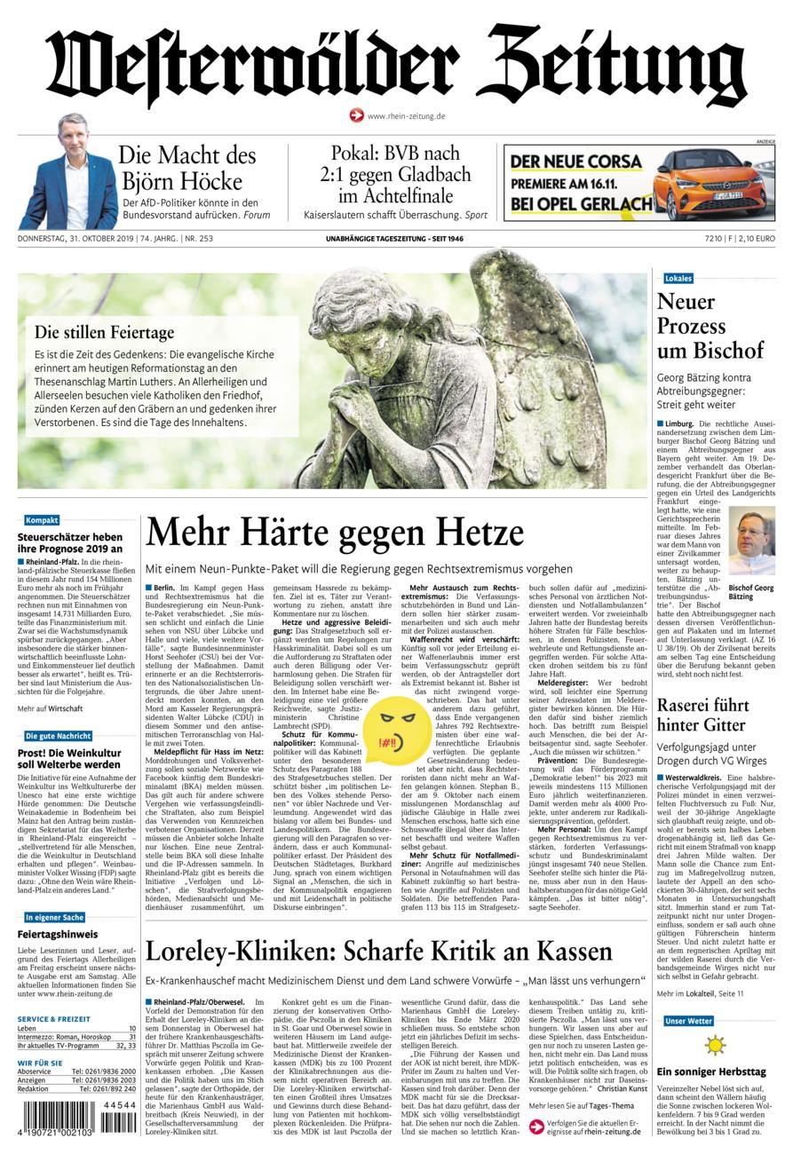 Westerwälder Zeitung vom Donnerstag, 31.10.2019