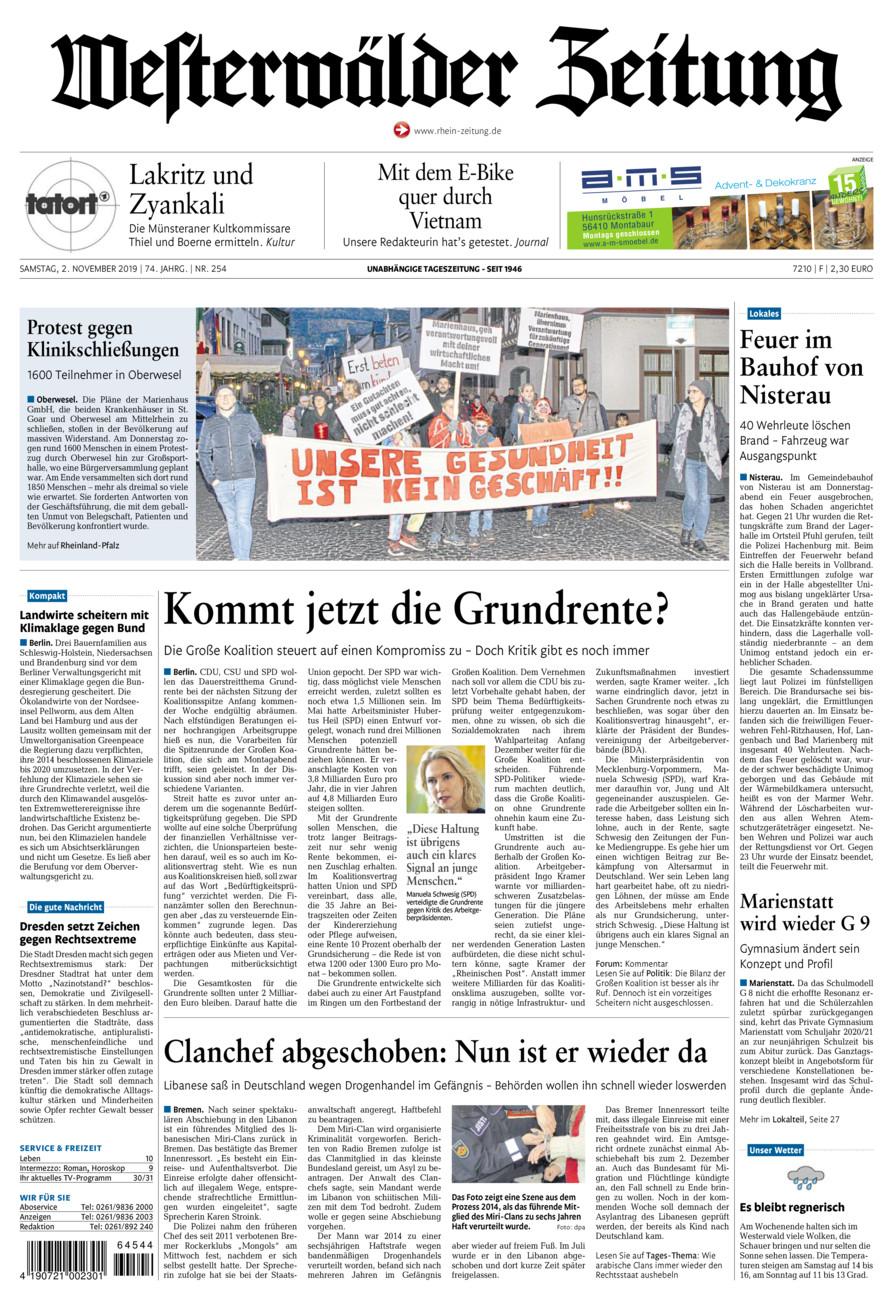 Westerwälder Zeitung vom Samstag, 02.11.2019