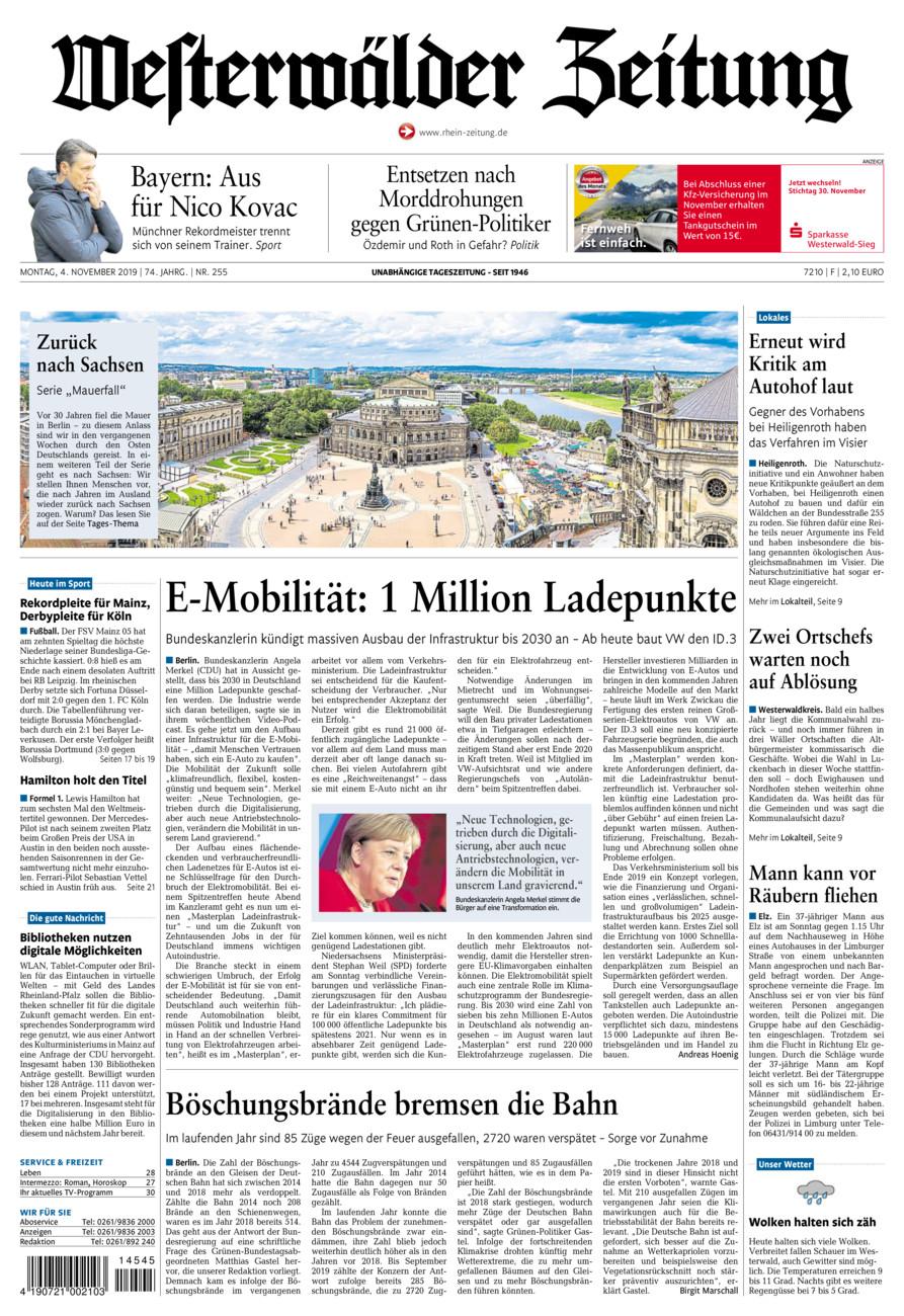 Westerwälder Zeitung vom Montag, 04.11.2019