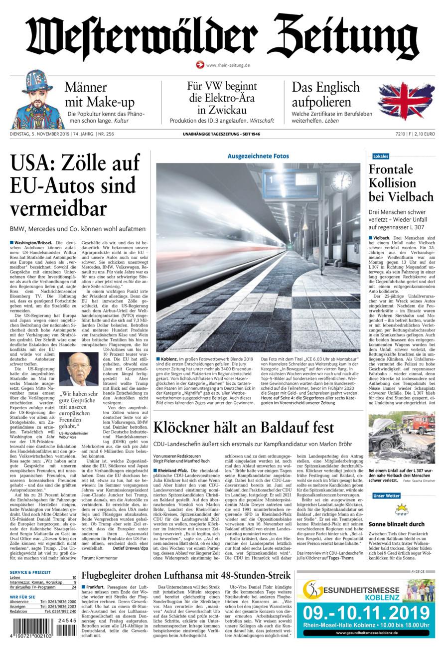 Westerwälder Zeitung vom Dienstag, 05.11.2019