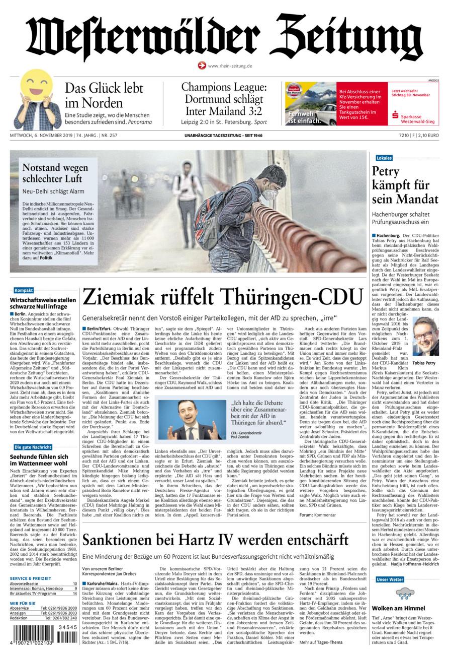 Westerwälder Zeitung vom Mittwoch, 06.11.2019