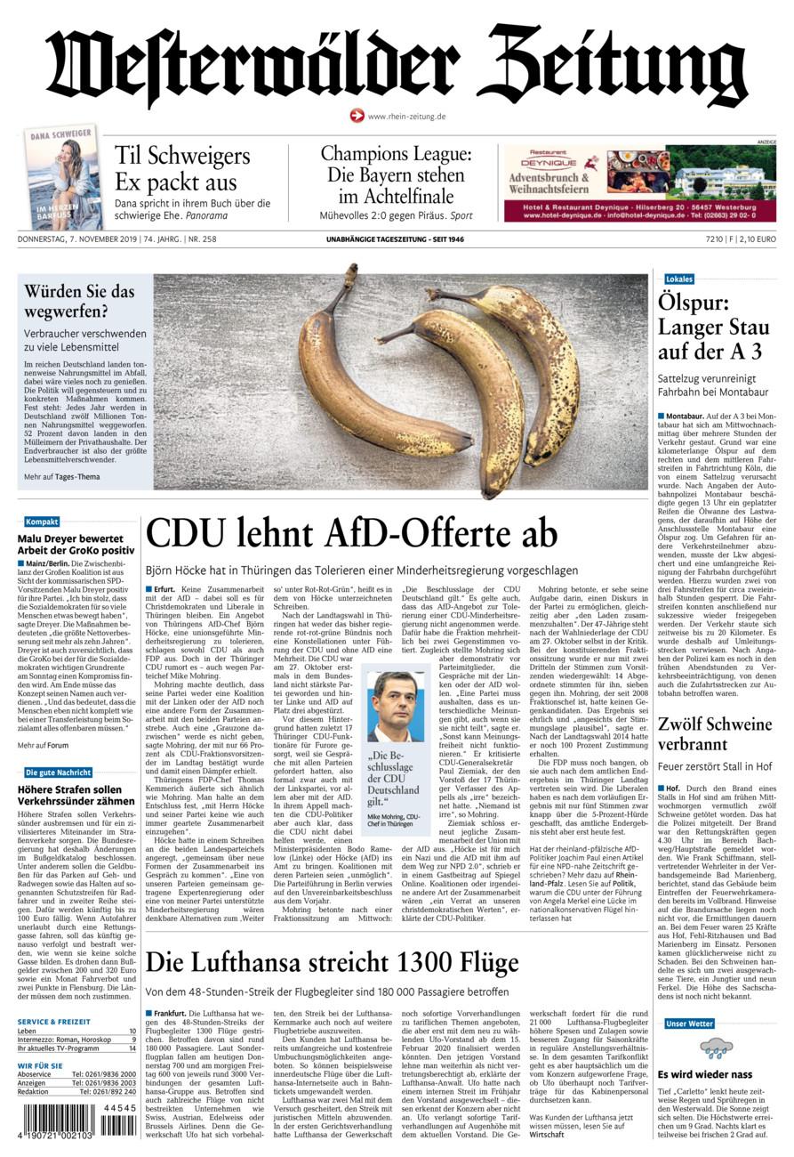 Westerwälder Zeitung vom Donnerstag, 07.11.2019