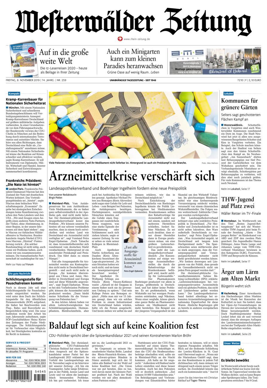 Westerwälder Zeitung vom Freitag, 08.11.2019