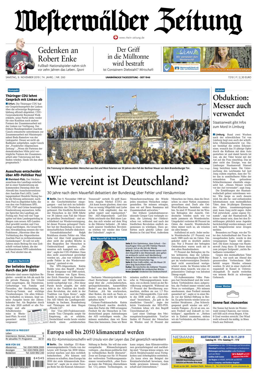 Westerwälder Zeitung vom Samstag, 09.11.2019