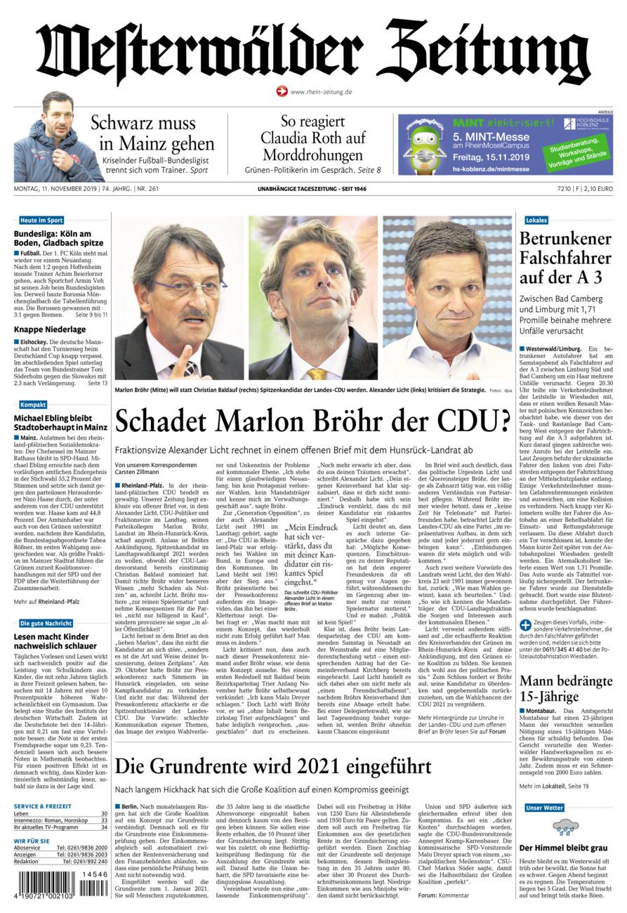 Westerwälder Zeitung vom Montag, 11.11.2019