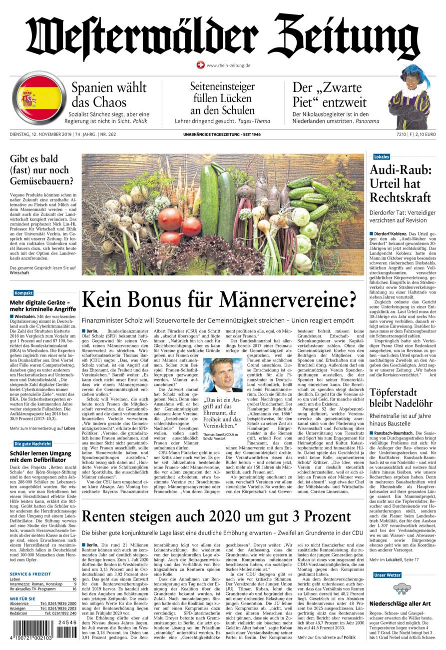 Westerwälder Zeitung vom Dienstag, 12.11.2019