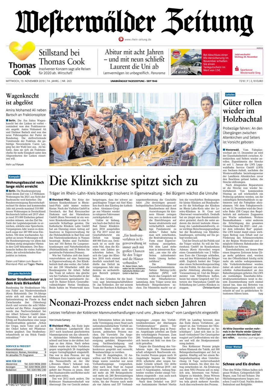 Westerwälder Zeitung vom Mittwoch, 13.11.2019