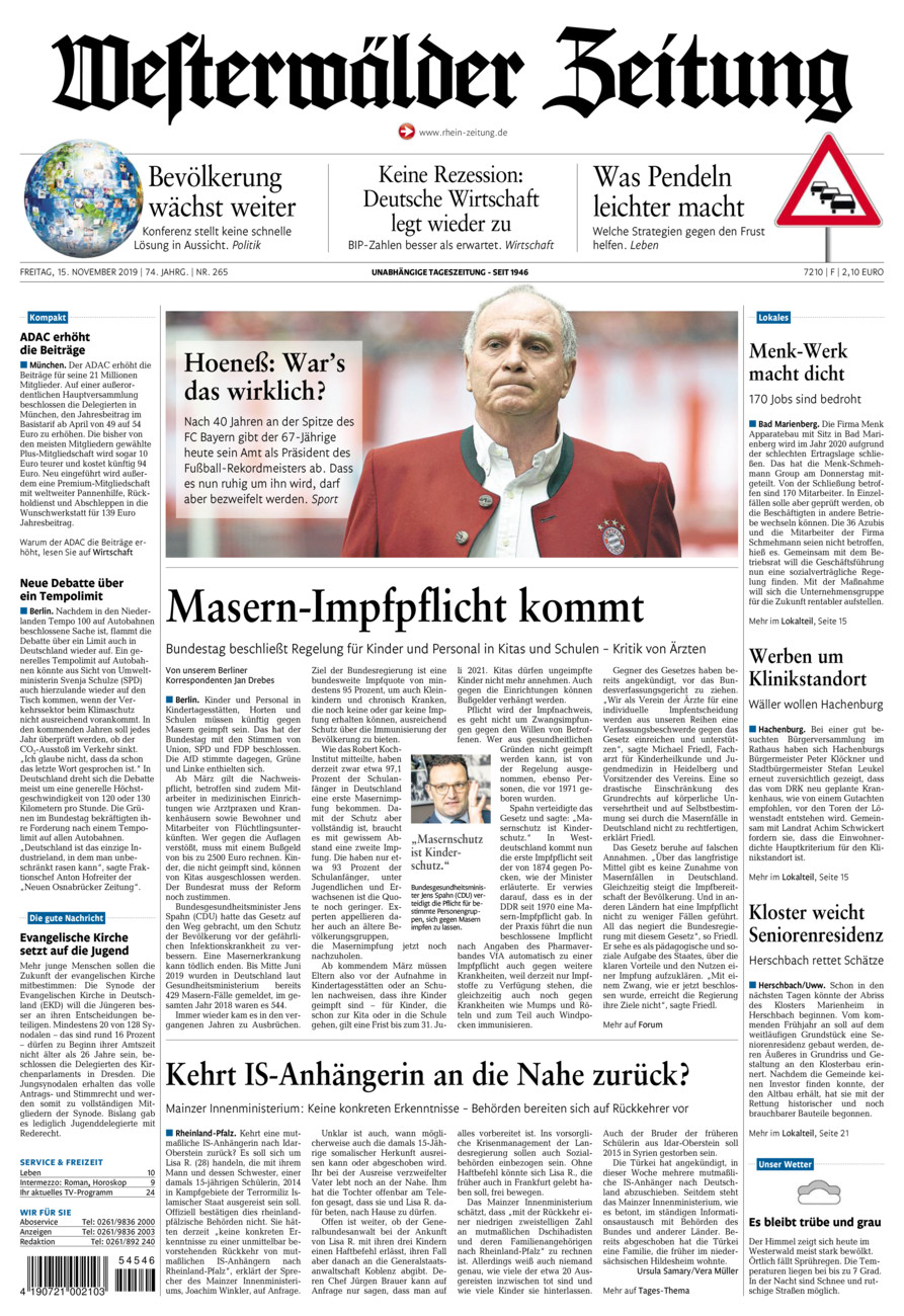 Westerwälder Zeitung vom Freitag, 15.11.2019
