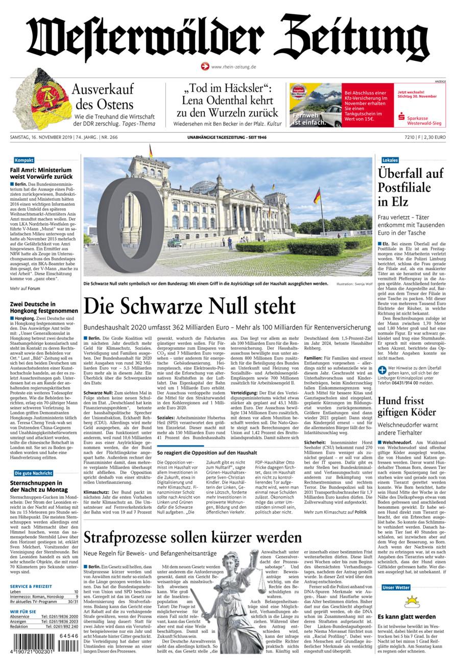Westerwälder Zeitung vom Samstag, 16.11.2019