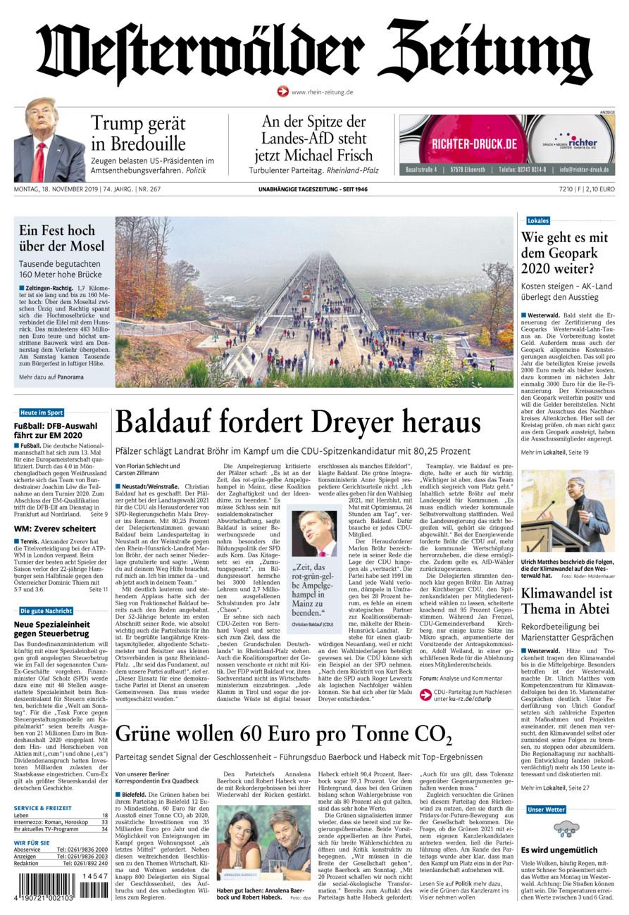 Westerwälder Zeitung vom Montag, 18.11.2019