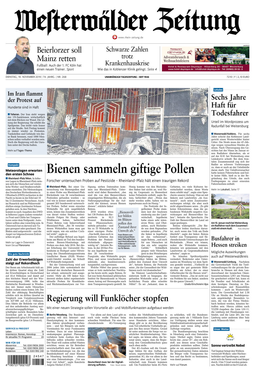 Westerwälder Zeitung vom Dienstag, 19.11.2019