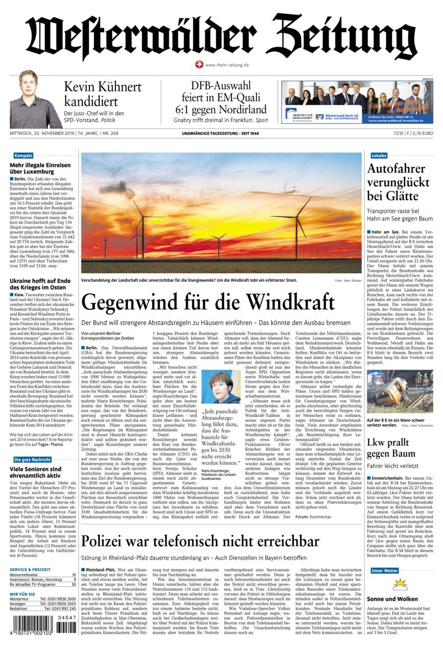 Westerwälder Zeitung vom Mittwoch, 20.11.2019