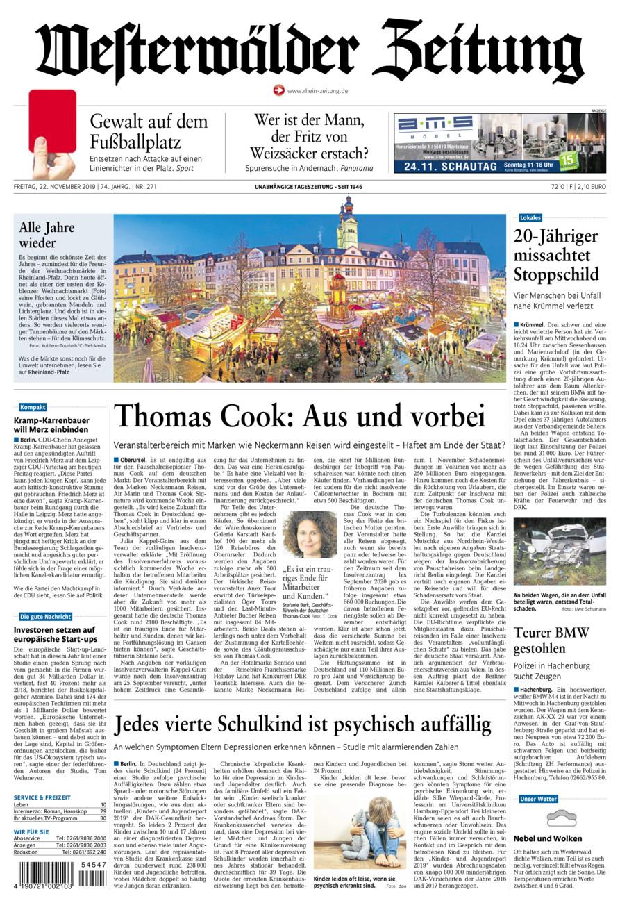 Westerwälder Zeitung vom Freitag, 22.11.2019