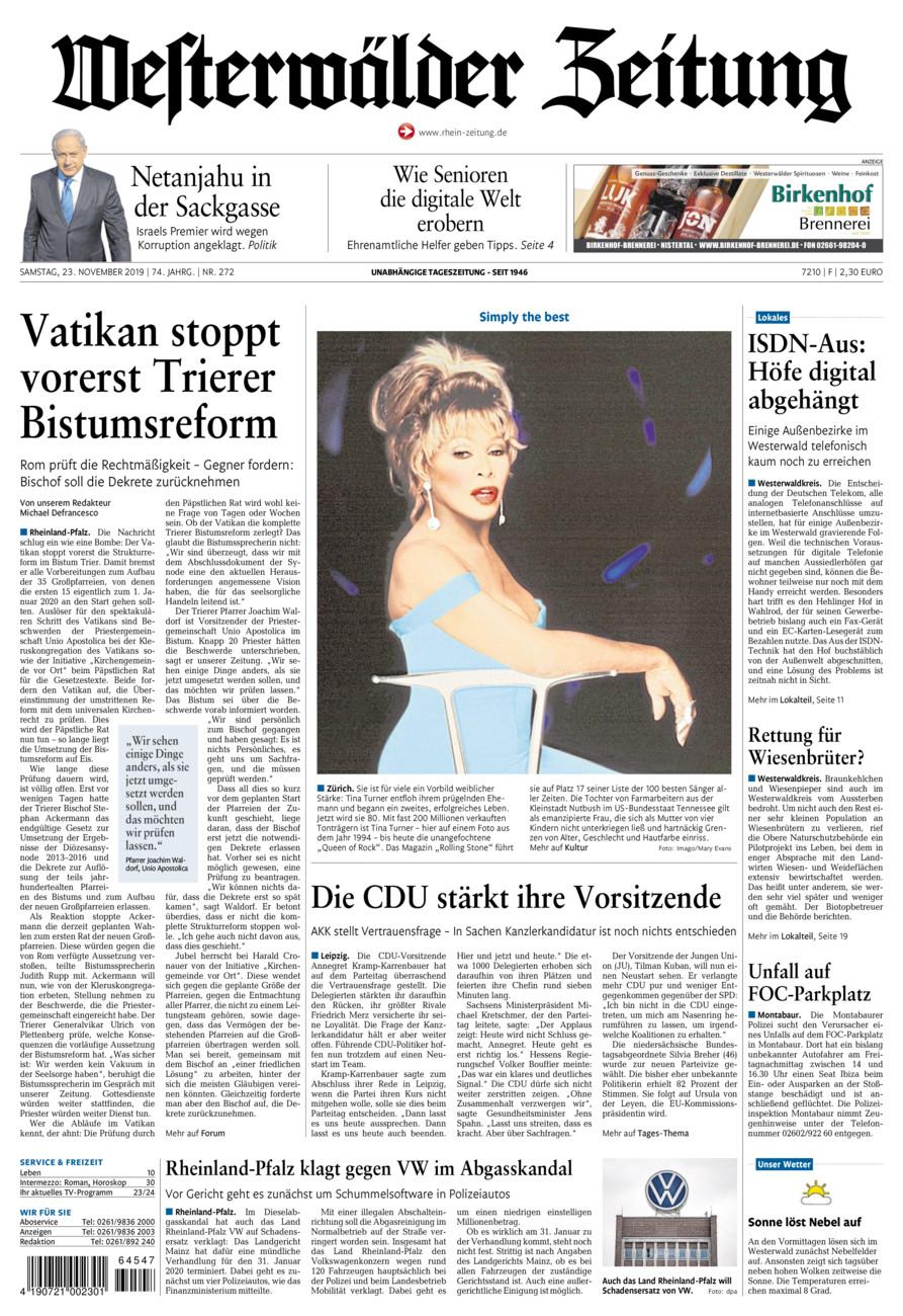Westerwälder Zeitung vom Samstag, 23.11.2019