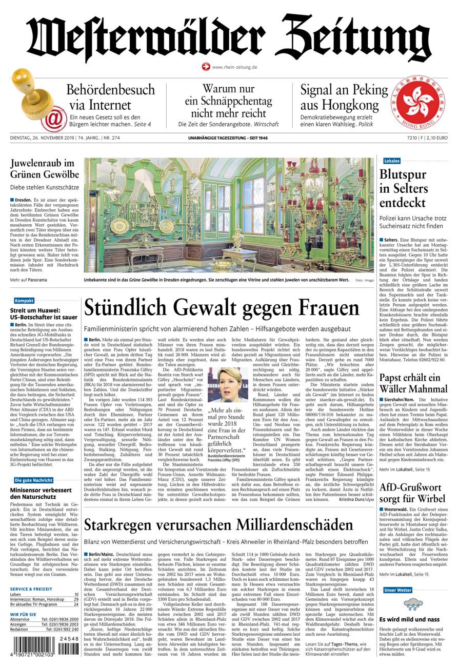 Westerwälder Zeitung vom Dienstag, 26.11.2019