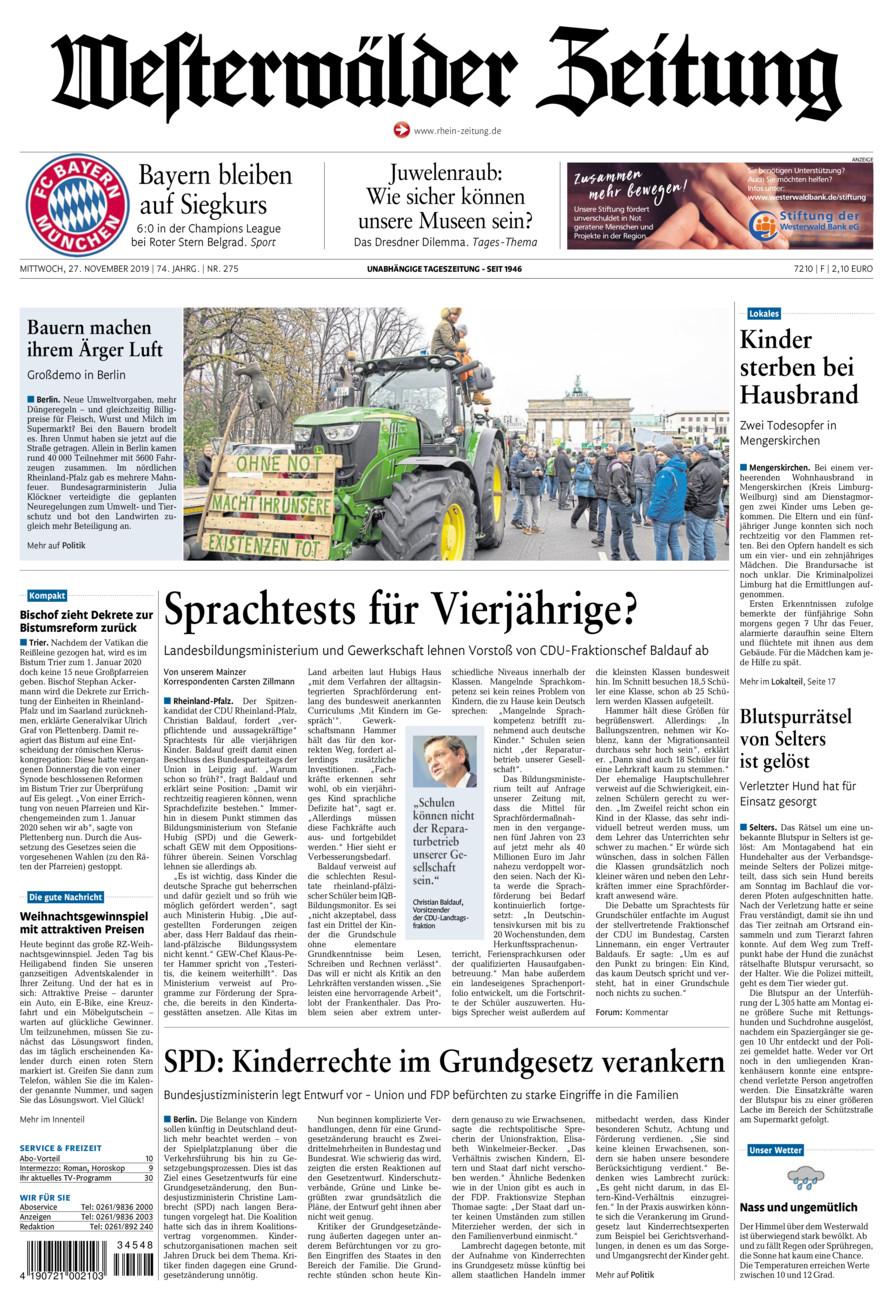 Westerwälder Zeitung vom Mittwoch, 27.11.2019