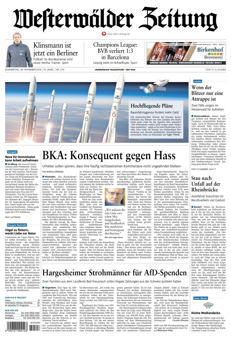 Westerwälder Zeitung vom Donnerstag, 28.11.2019