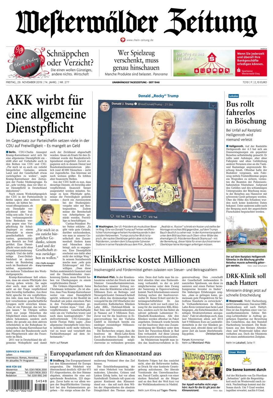 Westerwälder Zeitung vom Freitag, 29.11.2019