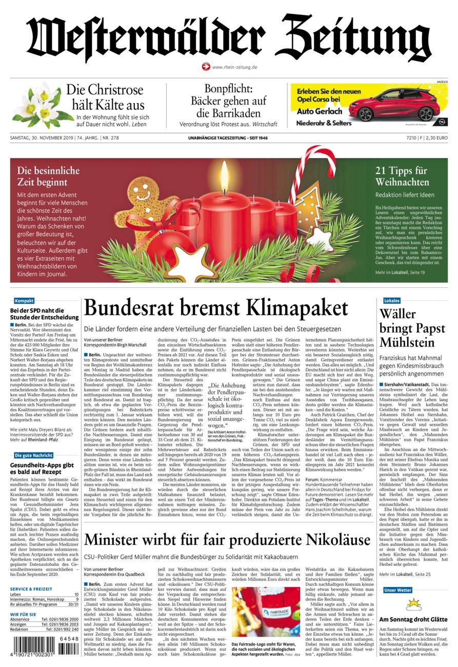Westerwälder Zeitung vom Samstag, 30.11.2019