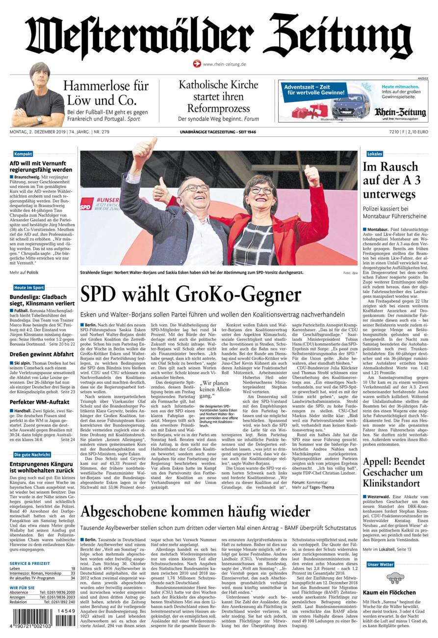 Westerwälder Zeitung vom Montag, 02.12.2019