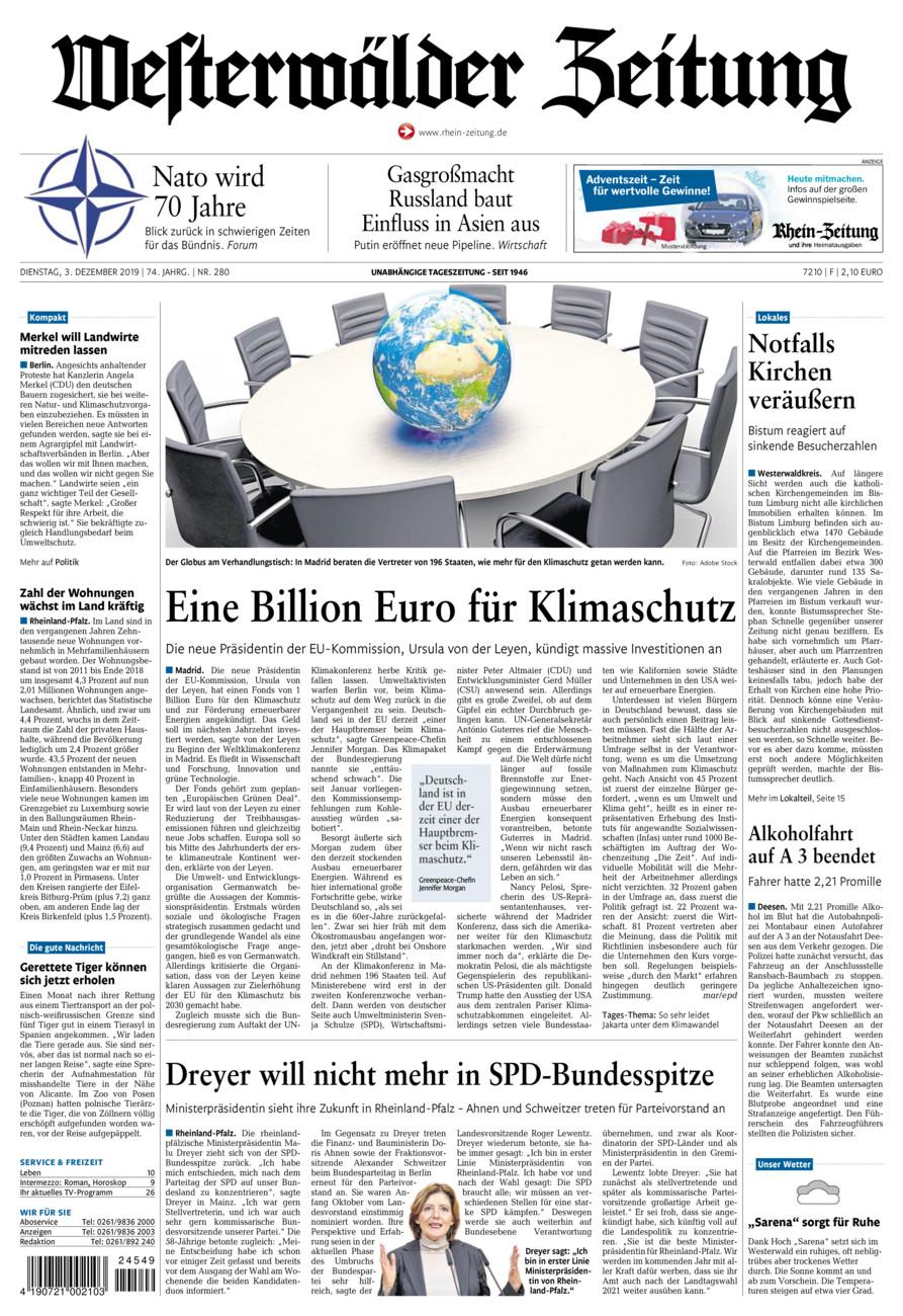Westerwälder Zeitung vom Dienstag, 03.12.2019