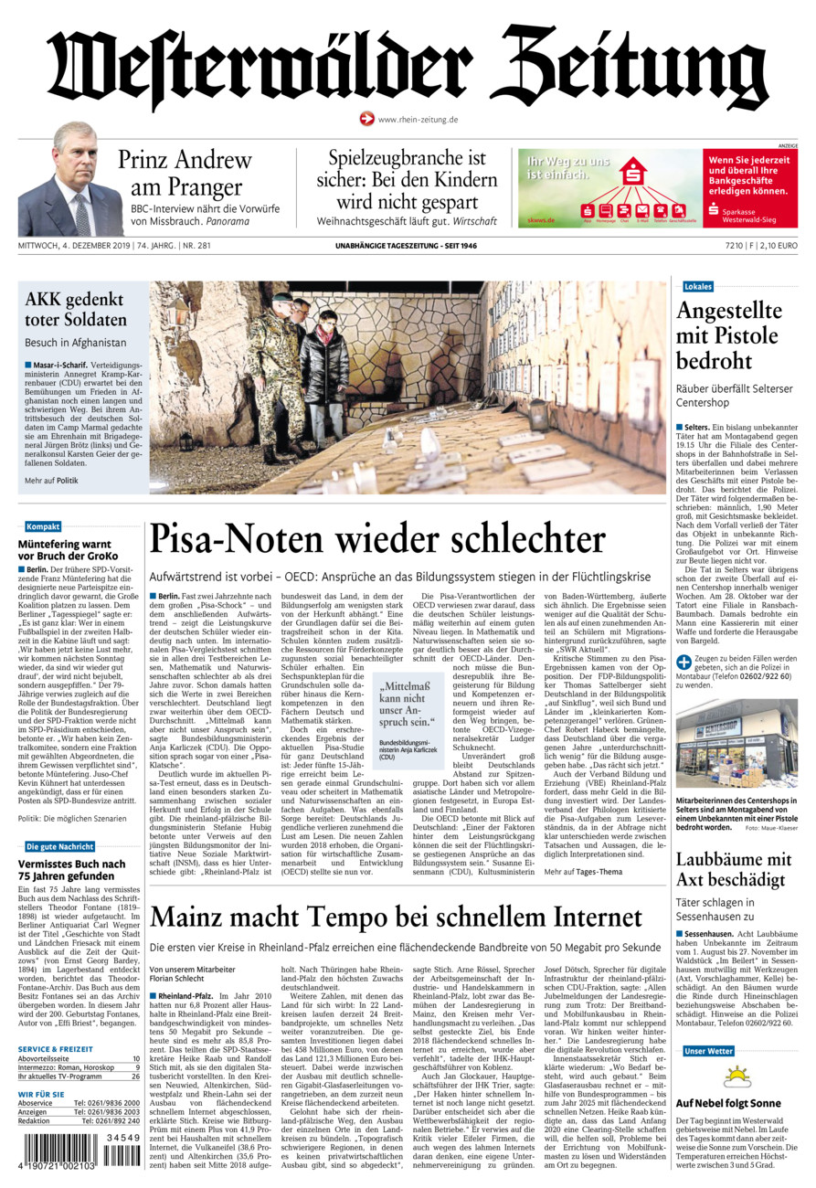 Westerwälder Zeitung vom Mittwoch, 04.12.2019