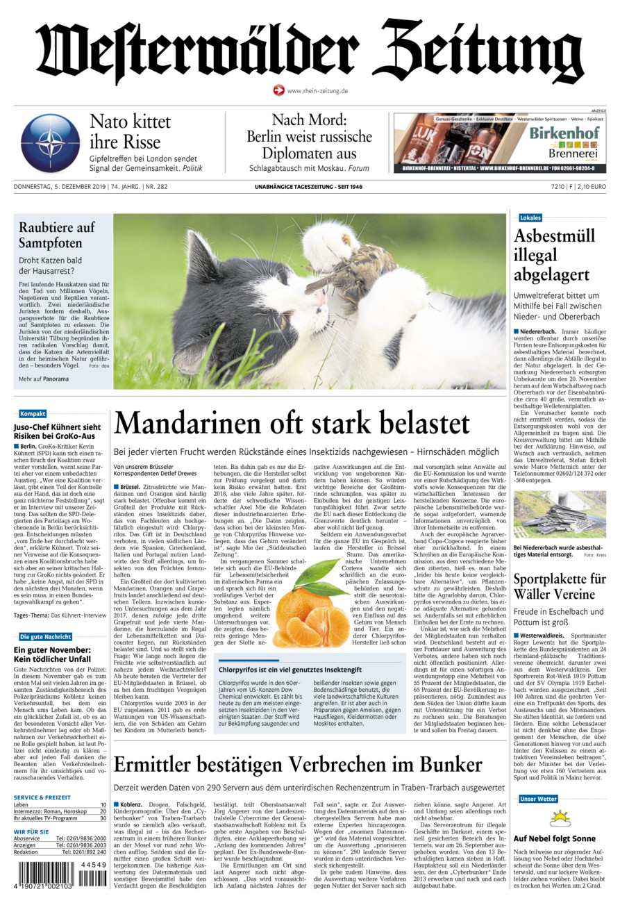 Westerwälder Zeitung vom Donnerstag, 05.12.2019