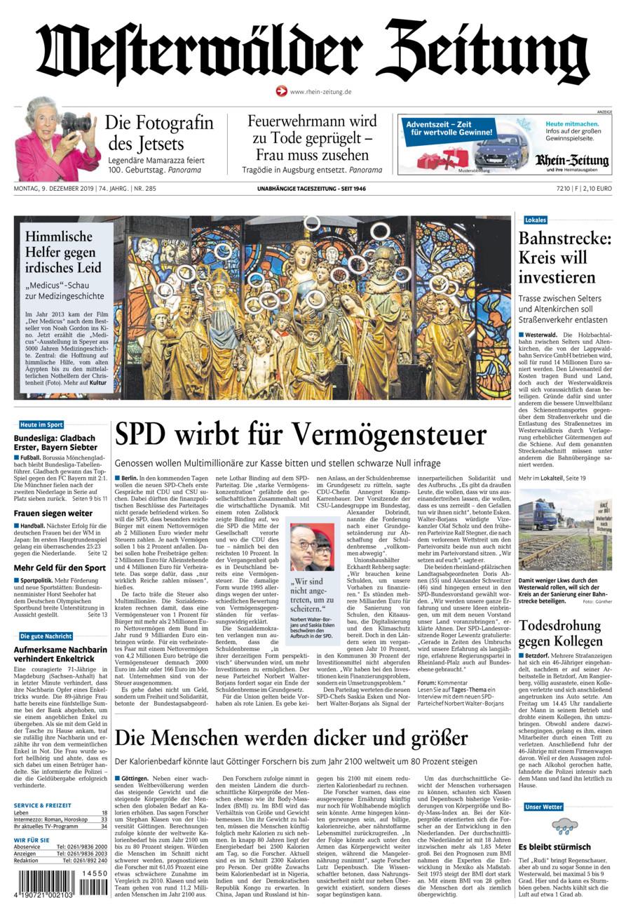 Westerwälder Zeitung vom Montag, 09.12.2019