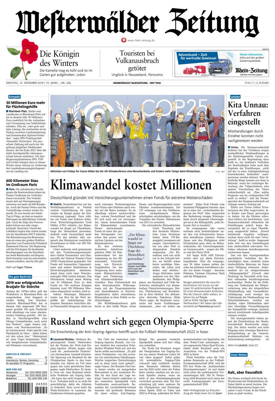 Westerwälder Zeitung vom Dienstag, 10.12.2019
