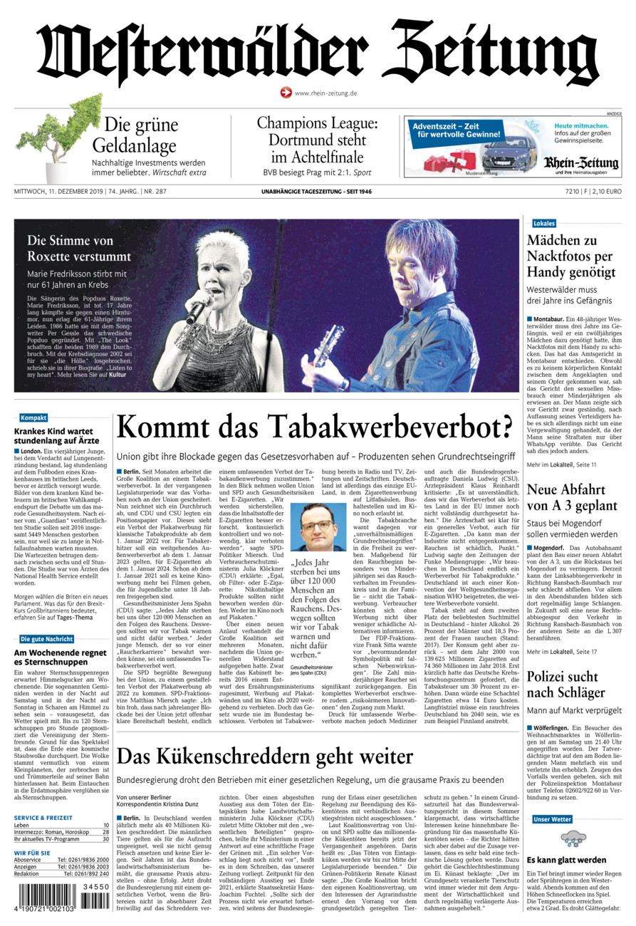 Westerwälder Zeitung vom Mittwoch, 11.12.2019