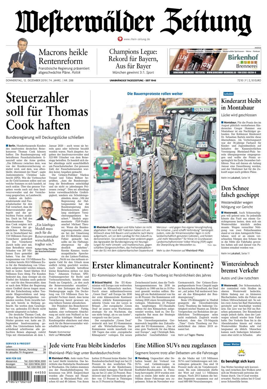 Westerwälder Zeitung vom Donnerstag, 12.12.2019