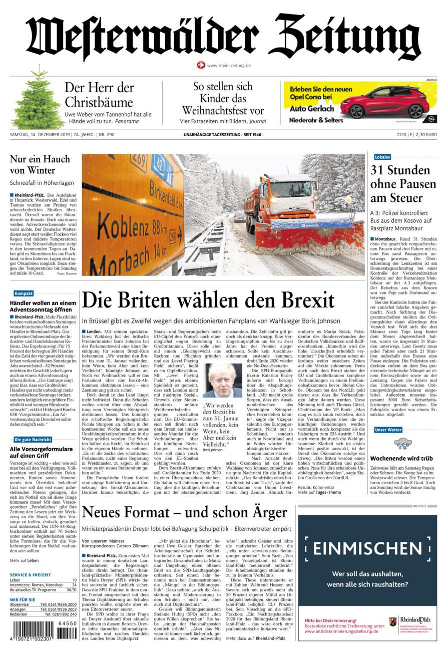 Westerwälder Zeitung vom Samstag, 14.12.2019
