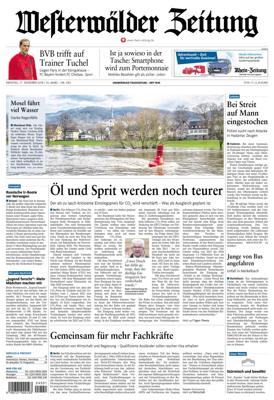 Westerwälder Zeitung vom Dienstag, 17.12.2019