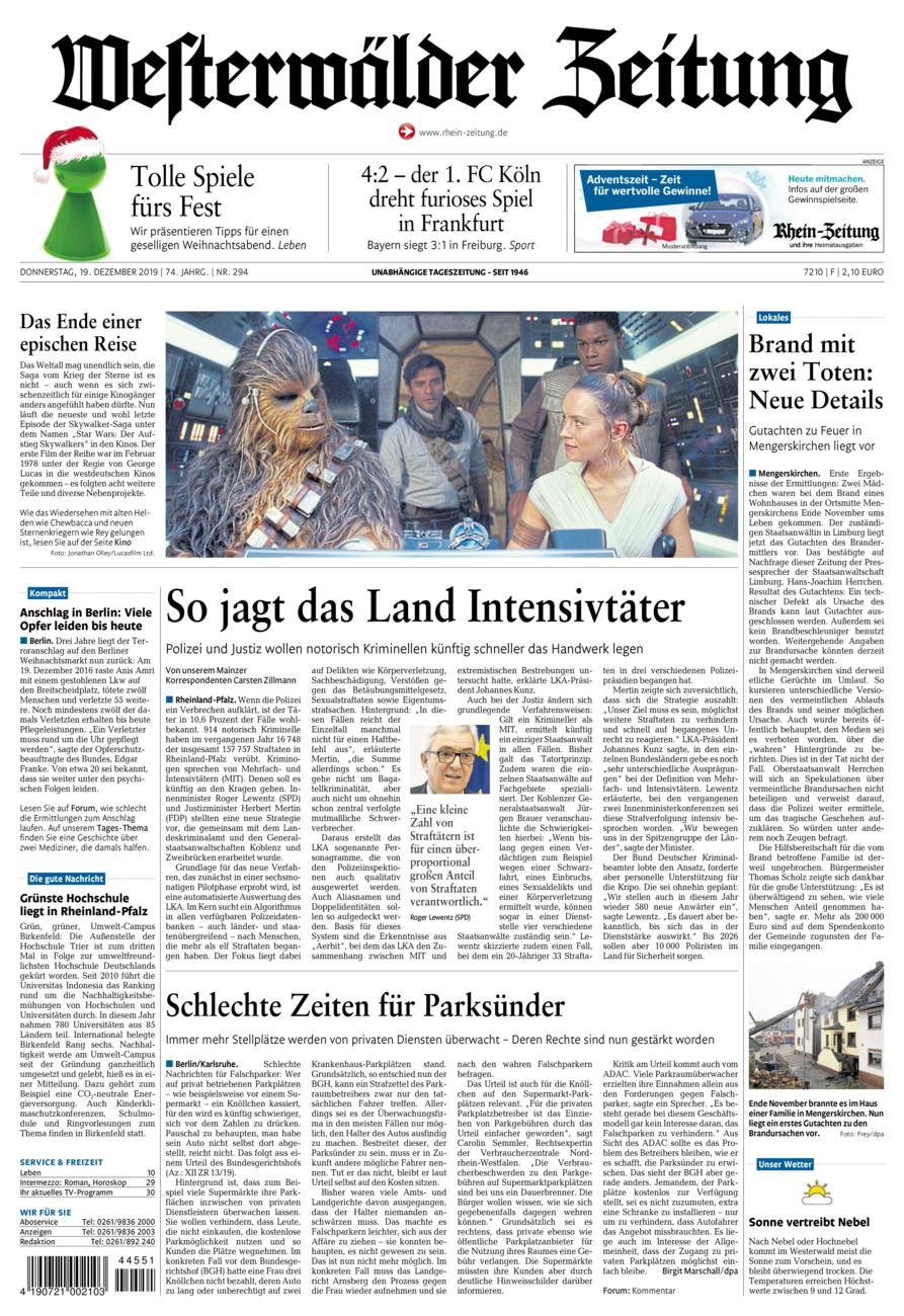 Westerwälder Zeitung vom Donnerstag, 19.12.2019