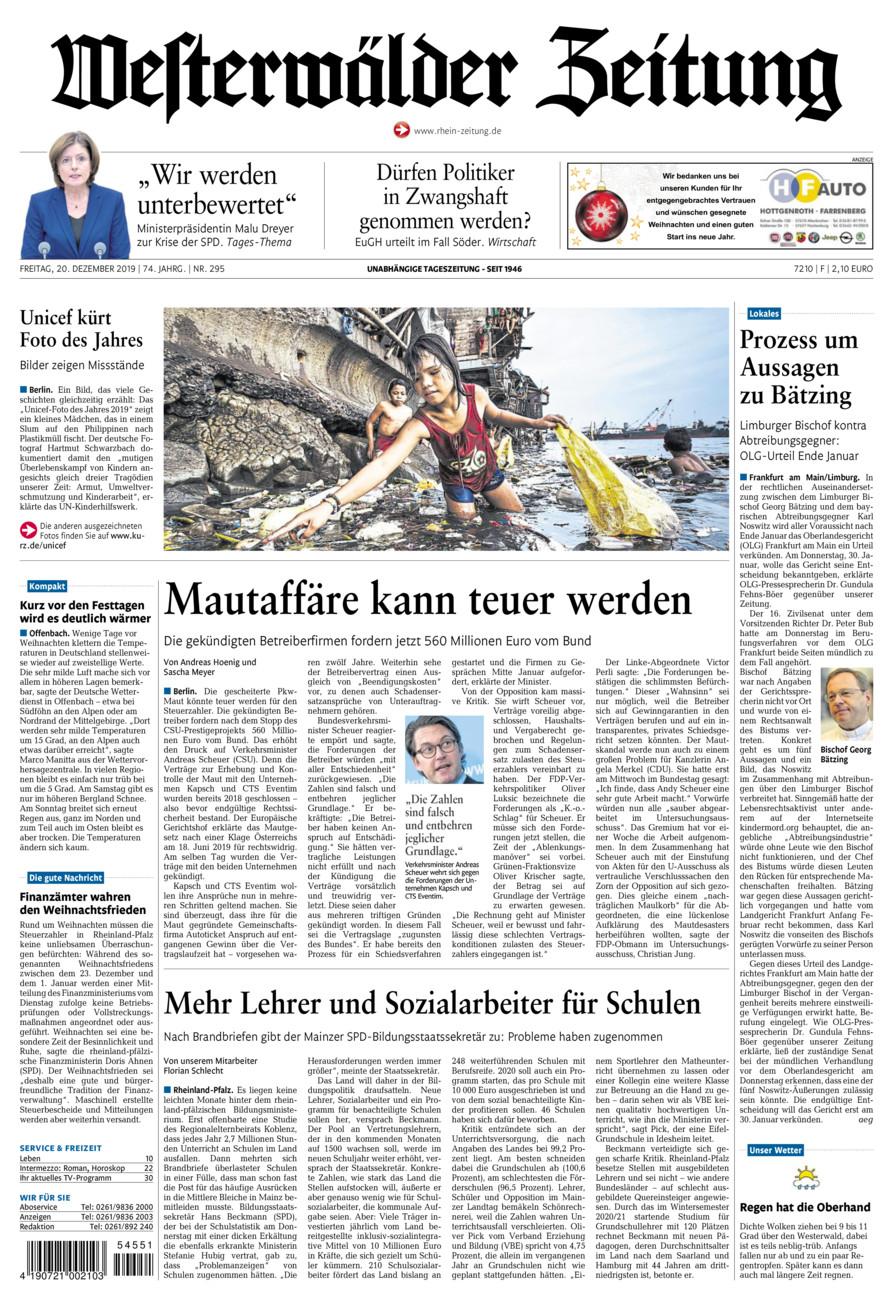 Westerwälder Zeitung vom Freitag, 20.12.2019